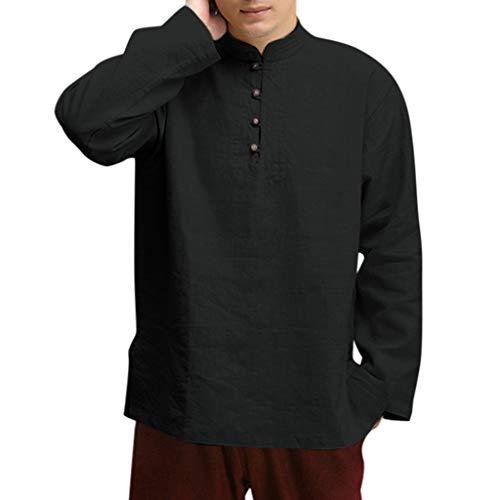 DEELIN Hemd Vintage Mode Heren katoenmix, Chinees hemd, knopen, lange mouwen, opstaande kraag, eenkleurig, effen