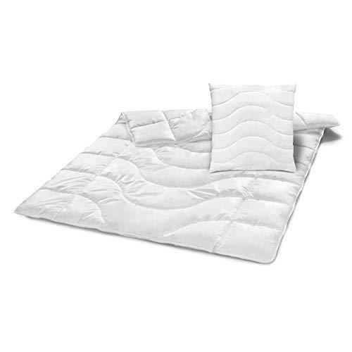 Traumnacht Steppbett Komfort Duo, weiß, 200 x 200 cm + Kopfkissen, mit einem atmungsaktivem Baumwollbezug und Reißverschluss in 80 x 80 cm