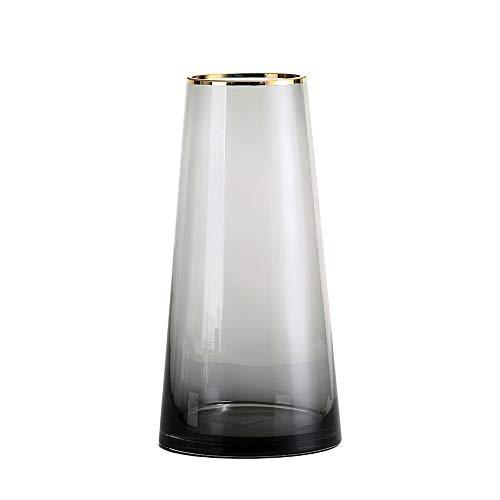 PUCHIKA Vase Glas Blumenvase, Modern Vase für Zuhause und Hochzeit, Kaltgrün Tischvase für Pflanzen, Tischdeko, Höhe 28cm, Ø14cm.