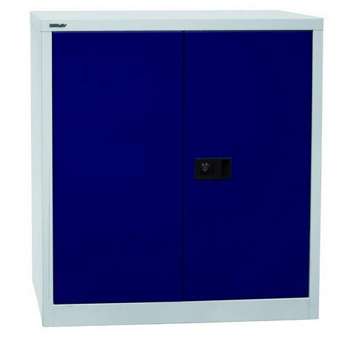 BISLEY Flügeltürenschrank Universal, 1 Fachboden, 2 OH, Metall, 505 Korpus Lichtgrau, Fronten Oxfordblau, 40 x 91.4 x 100 cm