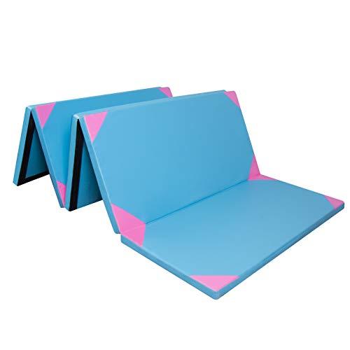 CCLIFE 300x117x4cm Klappbare Weichbodenmatte Turnmatte Fitnessmatte Gymnastikmatte Rutschfeste Sportmatte Spielmatte Blau&rosa