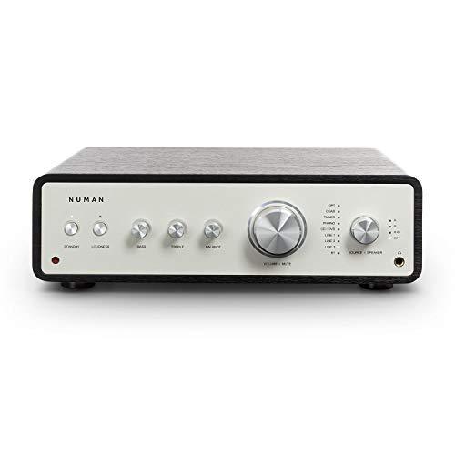 NUMAN Drive - Amplificatore Stereo Digitale, Amplificatore HiFi, Rétro, Potenza di Uscita: 2 x 170 W, 4 x 85 W RMS, 5 x LineIn, 1 x Connessione Giradischi, 1 x CoaxIn, 1 x OpticalIn, Nero