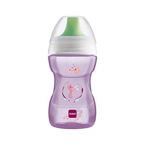 MAM Fun to Drink Trinkbecher 270 ml, Schnabelbecher für den Übergang zum Glas, Trinklernbecher mit ergonomischer Form, 8+ Monate, violett