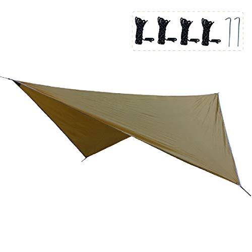 TRIWONDER Tarp Bâche de Camping Tapis de Sol Bâche de Tente Anti-Pluie Abri Couverture Auvent Imperméable pour Hamac Randonnée Pique-Nique Plage (Marron + Accessoires)