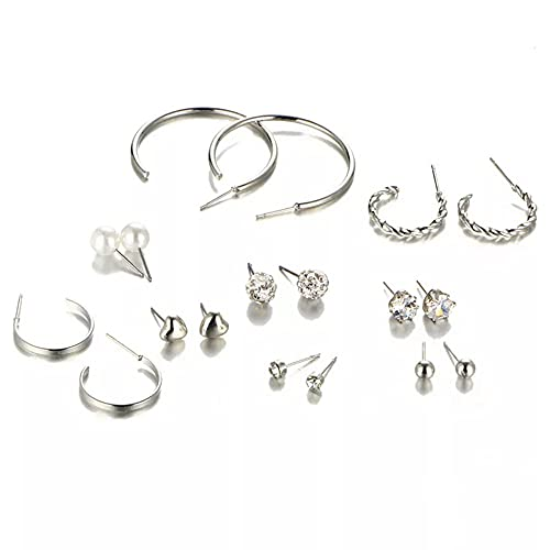 Shining Diva Fashion 9 Pairs Combo Latest Stylish Design Metal Earrings for Women and Girls (A12778er)