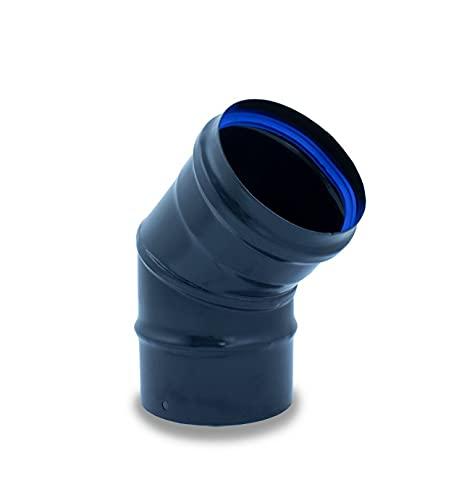 Codo 45º en acero negro inoxidable para estufas de pellets - Material Inoxidable Vitrificado, Diámetro 80 mm