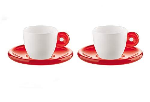 Guzzini Fratelli Gocce, 2 Espressotassen mit Untertassen, SMMA|Porcelain