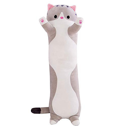 Almohada de felpa para muñeco de gato, lzndeal Lindo muñeco de felpa para gatos, muñeco de peluche suave para gatito, juguete, regalo, gato para dormir, almohada para abrazar, cojín de muñeca