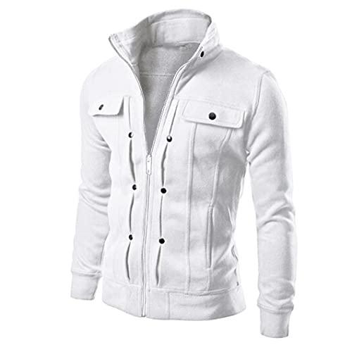 MITCOWBOYS Giacca invernale da uomo, calda imbottitura, per la mezza stagione, autunno, bomber, giacca invernale per l'aviatore, giacca da pilota, giacca da motociclista, giacca invernale, bianco, XXL