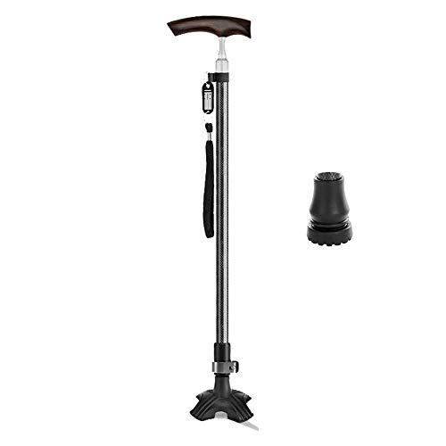 JIEER-C Ergonomische stoel loophulp, loophulp, helling voor ouderen, antislip, 4 palen, van hout, telescoophandvat, licht ZWART1