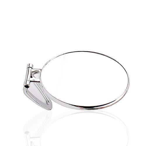 Miroir de maquillage portable double face grossissant sur support transparent argenté