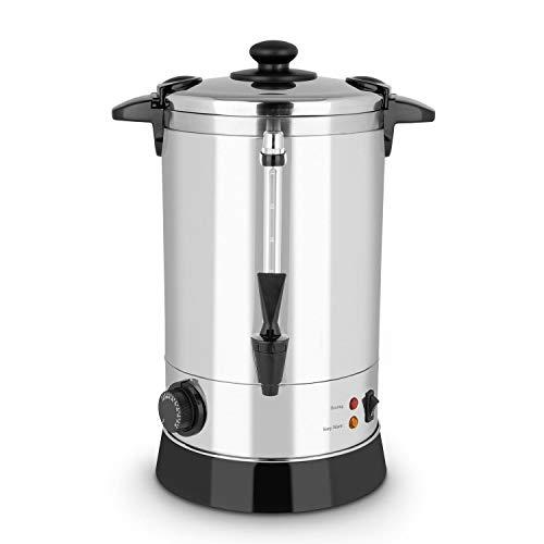 KLARSTEIN Geyser Fornello Bevande - Riscaldatore Bevande, 950 W, Circa 40 Tazze, 30-110 ° C, Vin brulè, tè o bevande calde, Acciaio Inox, Argento