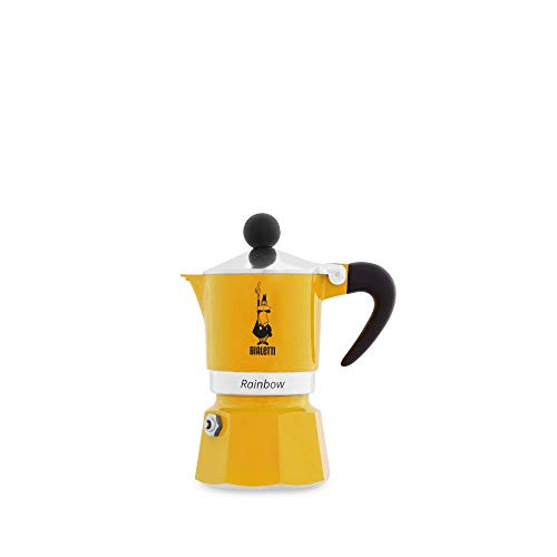 Bialetti Rainbow Espressokocher, Aluminium, Gelb, 1 Tasse
