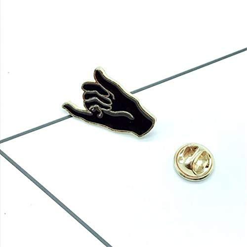JTXZD broche Nieuwe hete zwart-wit vinger broche belooft speciale betekenis creatieve rugzak shirt paar accessoires badge