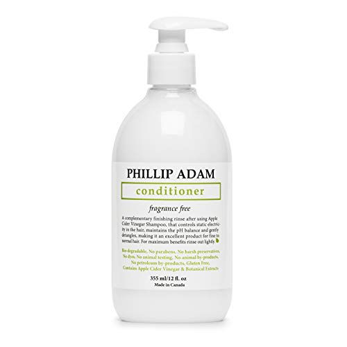 Phillip Adam Fragrance Free Conditioner - Apple Cider Vinegar Formula - No Parabens - For All Hair Types - 12 Ounce