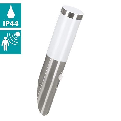 EGLO LED Außen-Wandlampe Helsinki, 1 flammige Außenleuchte inkl. Bewegungsmelder, Sensor-Wandleuchte aus Edelstahl und Kunststoff, Farbe: Silber, weiß, Fassung: E27, IP44