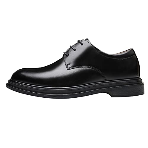 Scarpe da uomo Formale Oxford in Pelle Pizzo Scarpe Classiche Moderne Plain Toe Business Flat Derby Scarpe Zapatos de Vestir para Hombre, Nero , 38.5 EU