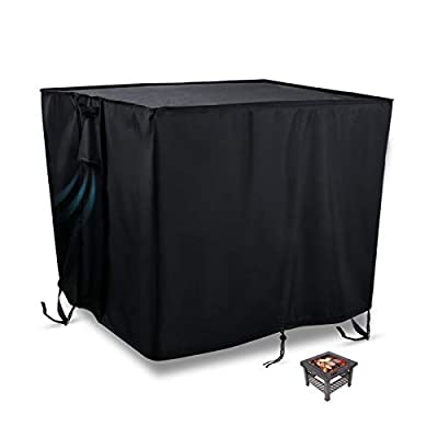 Flymer Garden Fire Pit Covers Patio Brazier Fire Bowl Covers Heavy Duty 420D Oxford Waterproof Tearproof Furniture Covers Square/Rectangle/Round Outdoor Covers, Black(84x84x44cm) by Flymer