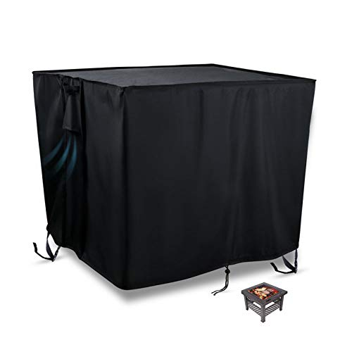 Flymer Garden Fire Pit Covers Patio Brazier Fire Bowl Covers Heavy Duty 420D Oxford Waterproof Tearproof Furniture Covers Square/Rectangle/Round Outdoor Covers, Black(76x76x63cm)