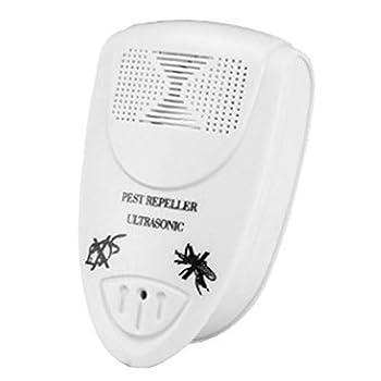Répulsif électronique ultrasonique antiparasitaire Répulsif ultrasonique antiparasitaire contre les moustiques, les cafards, les souris, les rongeurs, les araignées, les mouches,Blanc,1 piece