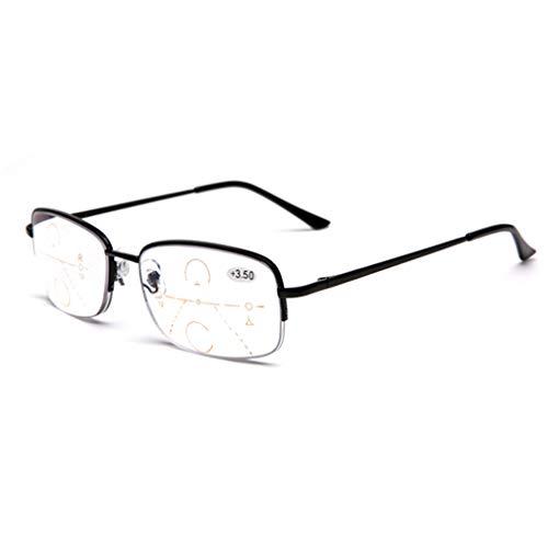 Multifokale Dioptrien-Gleitsichtbrille Lentes, Blaulichtfilter-Lesebrille, Anti-Blaulicht-Handybrille Nah und Fern Dual-Use Unisex Reader