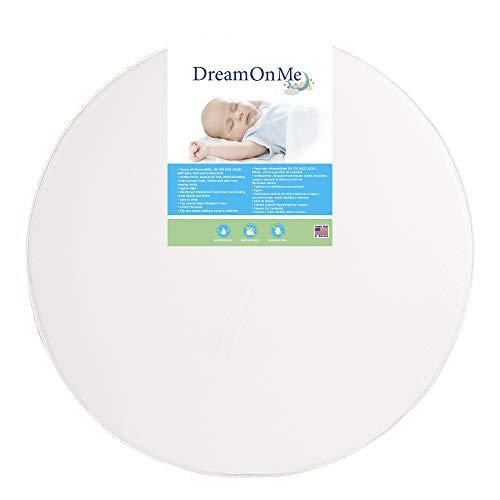 Best Deals! 4-inch Thick Round Crib Mattress - White Vinyl