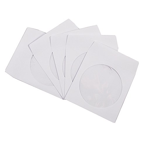 1000 Pack Maxtek Premium Thick White Paper CD Sleeves Envelope with Window Cut Out and Flap, 100g Heavy Weight. Wholesale Direct.