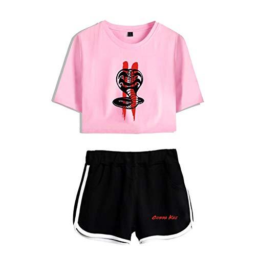 JDSWAN Mujeres Niño del Karate Cobra Kai Conjunto de Chándal Manga Corta Cobra Impreso Camiseta Crop Tops + Pantalones Cortos 2 Piezas Deportivos Trajes Pijama Verano