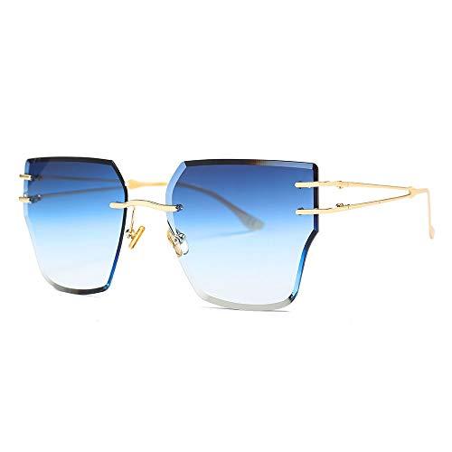Burenqi@ Gafas De Sol De Mujer Sin Montura Gafas De Sol De Ojo De Gato De Color Dorado Metálico...