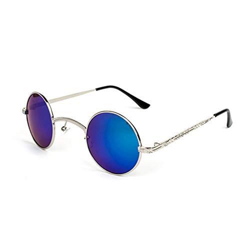 YIERJIU Gafas de Sol Round Steampunk Hombres Mujeres diseñador de la Marca Metal Retro Vintage Gafas Steam Punk Gafas de Sol para Mujeres uv400 Mens Shades,C4 Blue
