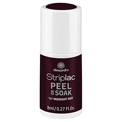 alessandro Striplac Peel or Soak Midnight Red – LED-Nagellack in dunklem Rot – Für perfekte Nägel in 15 Minuten – 1 x 8ml