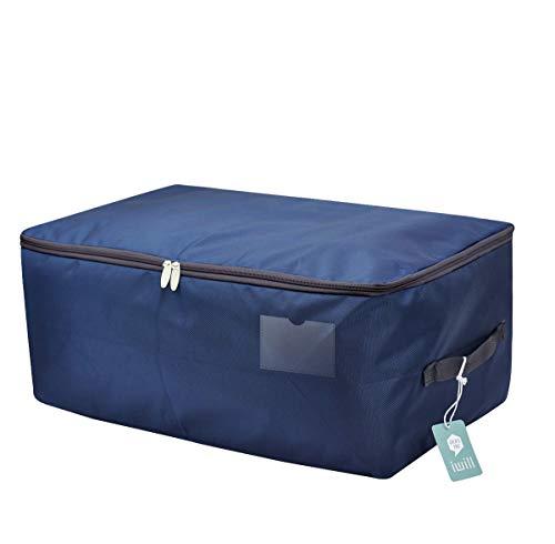 65 x 38 x 28 cm, tamaño Jumbo Bolsa de almacenamiento impermeable para la ropa de temporada, contenedor organizador suave a prueba de polvo en el estante, ático, cama debajo, azul oscuro