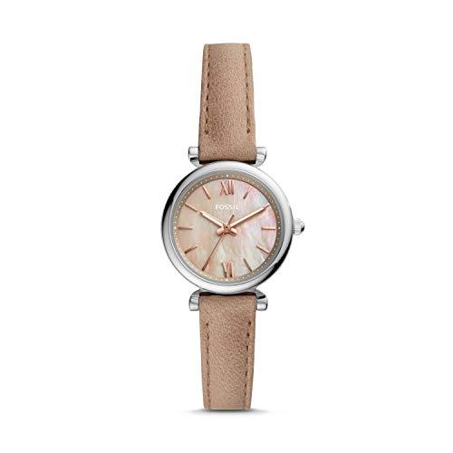 Fossil Carlie Mini - Reloj de Cuero en Color Arena para Mujer con Tres manecillas ES4530