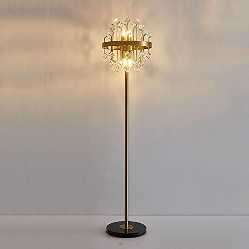 Lámpara De Pie LED Postmoderno Cubo De Mármol Claro Cristal Dorado Lámparas De Pie para Sala De Estar Diseño Elegante Dormitorio Detalle Decoración De La Casa