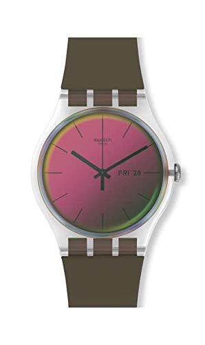 Swatch Unisex– Erwachsene Analog Schweizer Quarz Uhr mit Silicone Armband SUOK714