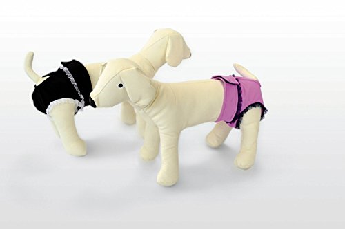 Schutzhose für Hunde Läufigkeitshose mit Spitze Hündin Hygieneunterhose Mutandina (2: 29 bis 36cm Hüftumfang, lila)