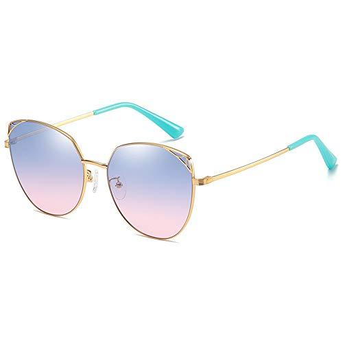 CZZ Zonnebril Vrouwen Oversize, Vintage Spiegel Aviator Zonnebril Voor Vrouwen Metalen Frame, UV400,Outdoors Reizen Rijbril (kleur : Blauw poeder)