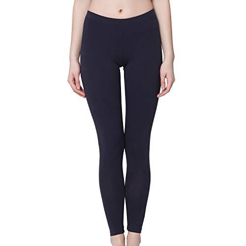 Celodoro Damen Leggings, stretchige Jersey Hose aus Baumwolle - Dunkelblau M