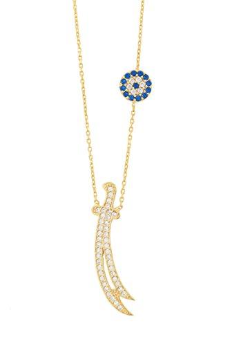925 Silber Halskette Zülfikar Schwert von Ali, Dhū l-faqār, Zulfiqar, Zulfikar - Türkisches Auge Nazar Boncuk, ColorName:Gold