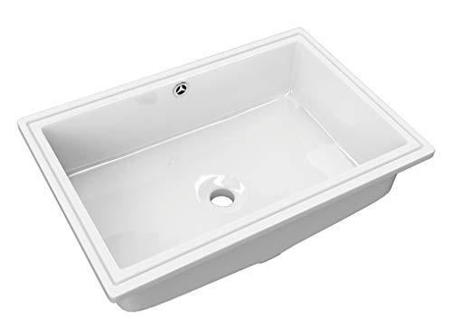 Lavabo bajo encimera Murta para mueble de baño de porcelana ceramica blanca con rebosadero de 54x34x17