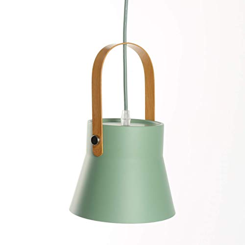 Pendants Light Metal Lamp Shade Wooden Coating Metal Handle Hanging Ceiling Lighting For Kitchen Island Living Dining Room (Green) (Color : -, Size : -)