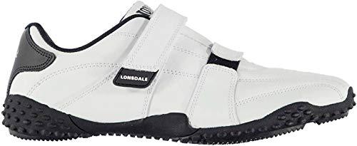 Lonsdale Herren Fulham Turnschuhe Freizeit Sneaker Klettverschluss Sport Schuhe Weiß/Marineblau 8 (42)