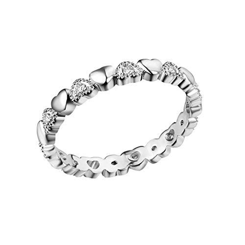 CommittedeDamen Verlobungsring Diamantring Ring mit Diamanten Ring Handgemacht Edelstahl mit Zirkon Strass Geschenk für Frauen