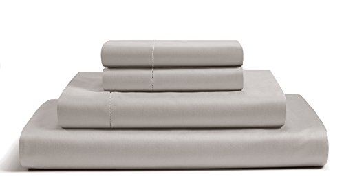 500 Thread Count Cotton Sheets Set - 100% Pima Cotton Pure Sateen Weave Long Staple Ultra Soft 4 Piece Bed Sheet Sets, Solids and Stripes Fits 18' Deep Pocket Mattress ; ( SOLID, QUEEN - SLATE GREY )