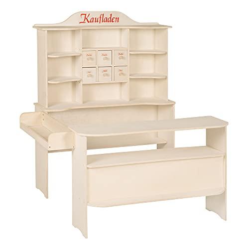 roba Marchande, grand marchande pour les enfants en bois naturel, marchande avec 6 tiroirs en bois, avec comptoir antérieur et latéral.