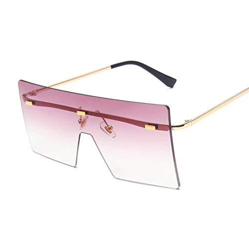 NJJX Gafas De Sol Cuadradas Vintage Para Hombre, Gafas De Sol Graduadas Retro De Gran Tamaño Para Mujer, Montura Grande De Lujo Para Hombre, Unisex, Doble Púrpura