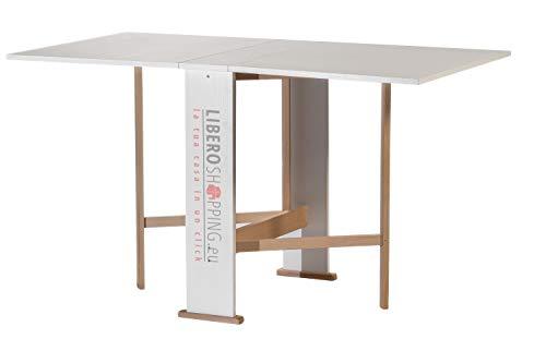 Tavolo consolle richiudibile pieghevole in legno SUSANNA (Bianco)