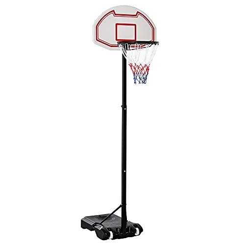 HOMCOM Canasta de Baloncesto Plegable y Ajustable en Altura Basket con Red Canasta de Baloncesto Plegable Altura Ajustable 150-210 cm Basket Red y Tablero
