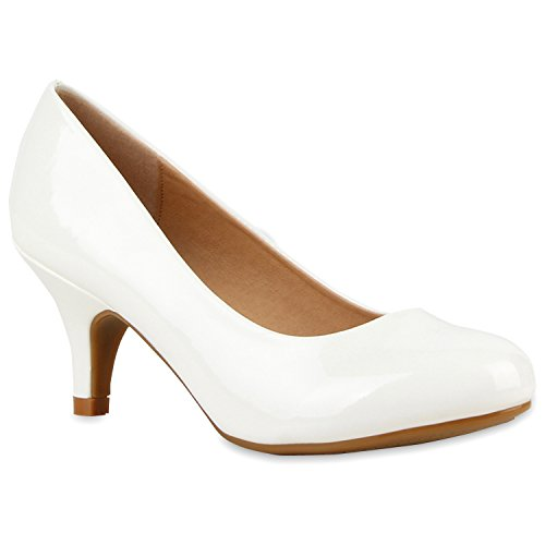 Klassische Damen Pumps Kitten Heels Lack Peeptoes Strass Glitzer Abend Braut Transparent Stilettos Schuhe 111560 Weiss 37 Flandell