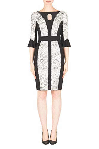 Joseph Ribkoff Abito Tubino Donna Nero Grigo Black/Ivory/Silver Dress Style 183568 50